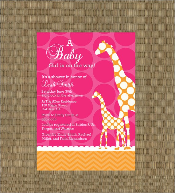 giraffe baby shower invitation pink and