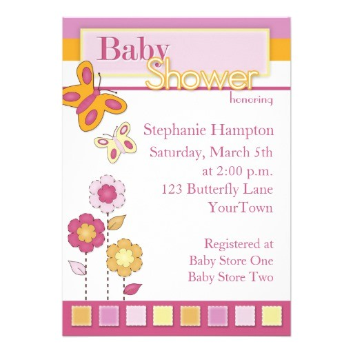 pink and orange butterfly baby shower invitation