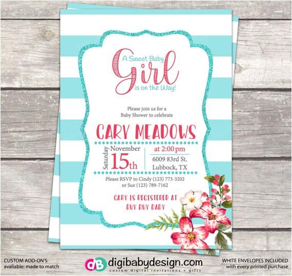 sweet baby girl baby shower invitation 4