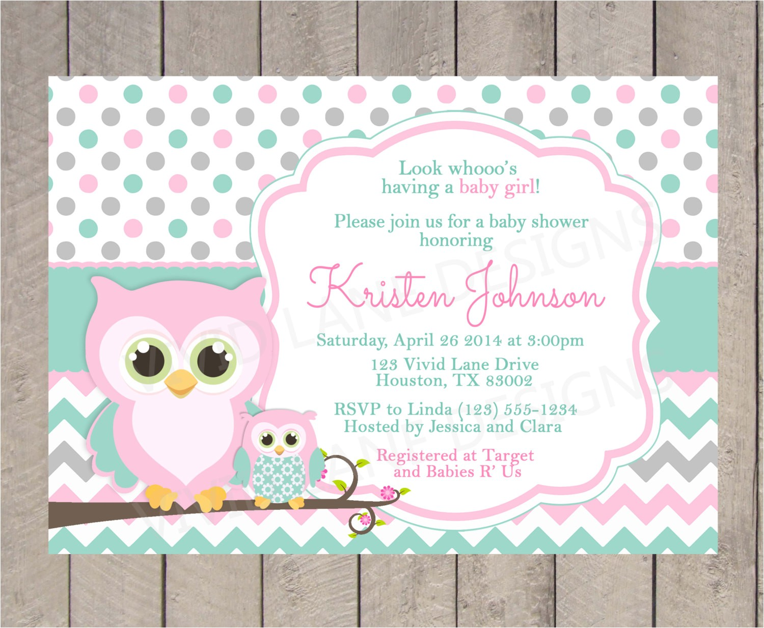 owl baby shower invitation pink teal and