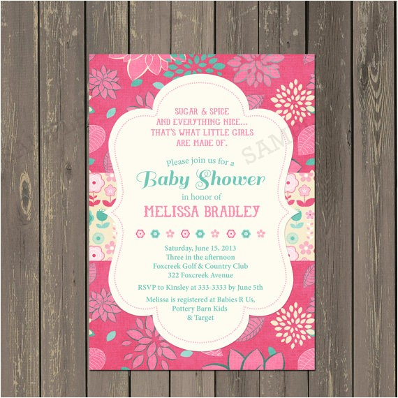 pink and teal baby shower invitation