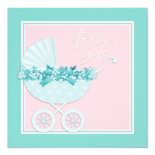 pink and teal blue baby shower invitations