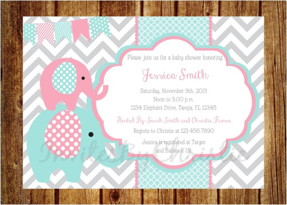 pink teal and gray elephant baby shower