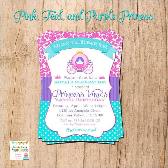 pink teal purple princess invitation print