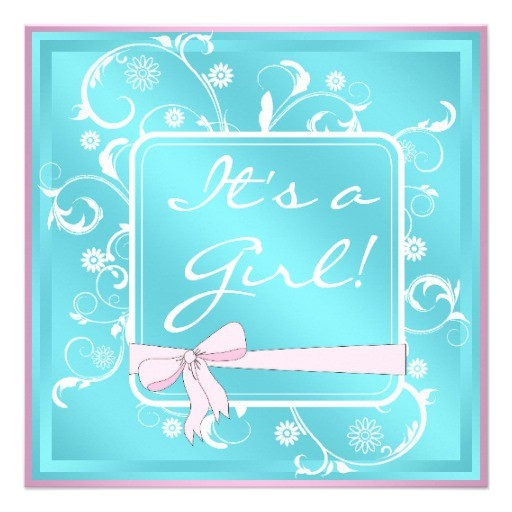 pink teal white baby girl shower invitations