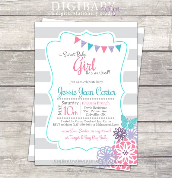 sip baby shower invitation teal pink