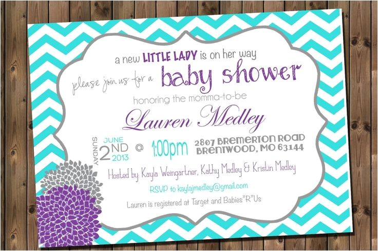 Pink and Turquoise Baby Shower Invitations Baby Girl Shower Invitation Chevron Invitation Turquoise