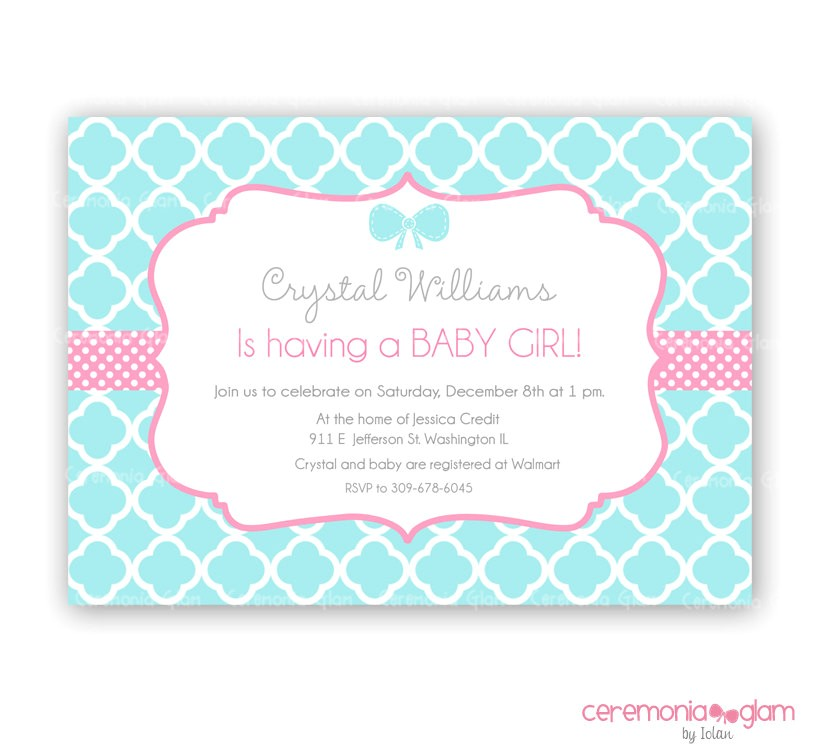 Pink and Turquoise Baby Shower Invitations Baby Shower Girl Turquoise and Pink Quatrefoil by
