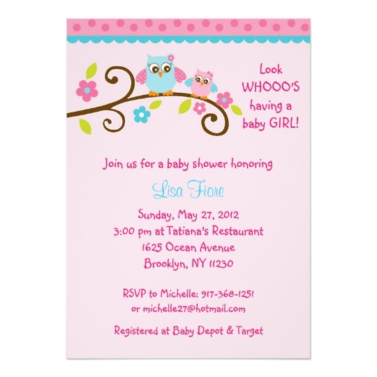 Pink and Turquoise Baby Shower Invitations Girl Owl Pink Turquoise Baby Shower Invitations