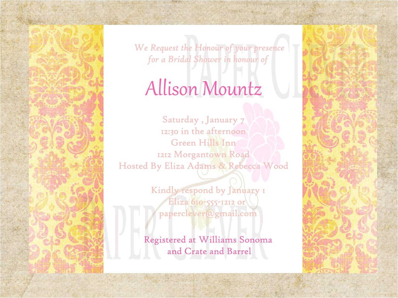 bridal shower wedding invitation yellow pink damask