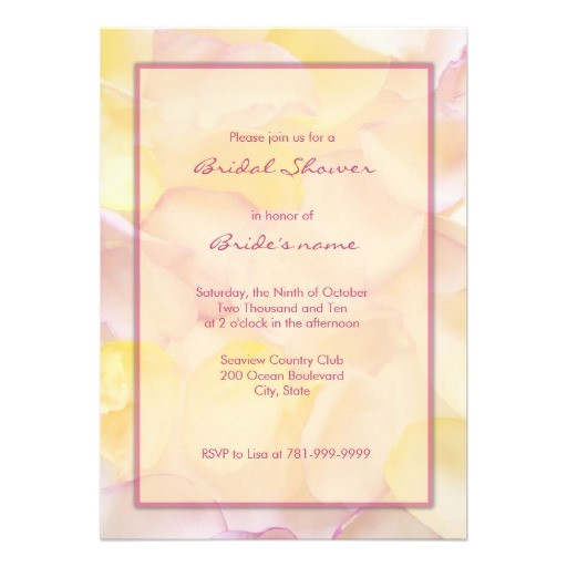 pink and yellow bridal shower invitations