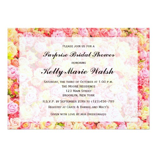 pink and yellow roses bridal shower invitation