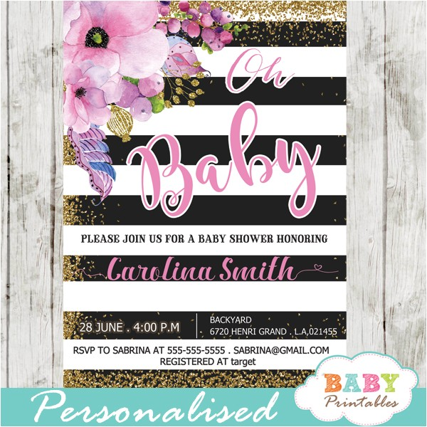 pink floral baby shower invitations gold glitter black and white stripes d301
