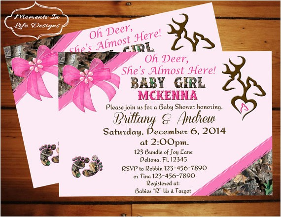 peek a boo camo baby shower invitation