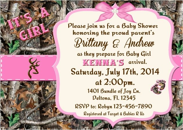 Pink Camouflage Baby Shower Invitations Pink Camo Baby Shower Invitations