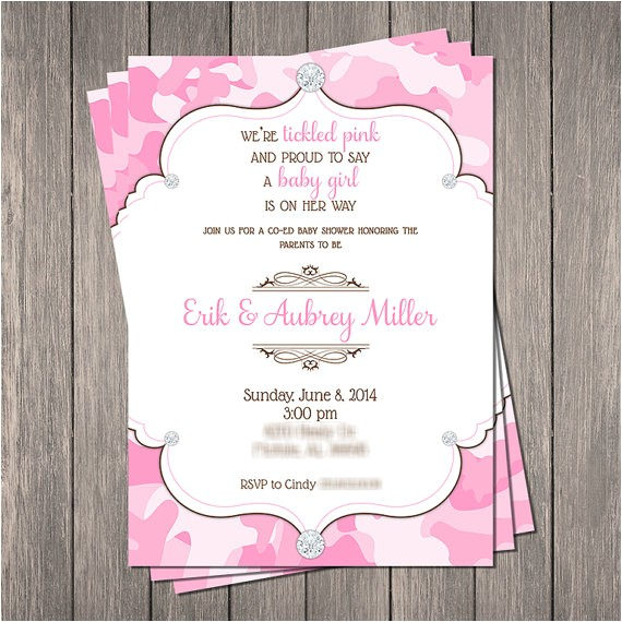 pink camo bling baby shower invitation