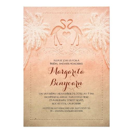 pink flamingo beach bridal shower invitations 161887591989110553