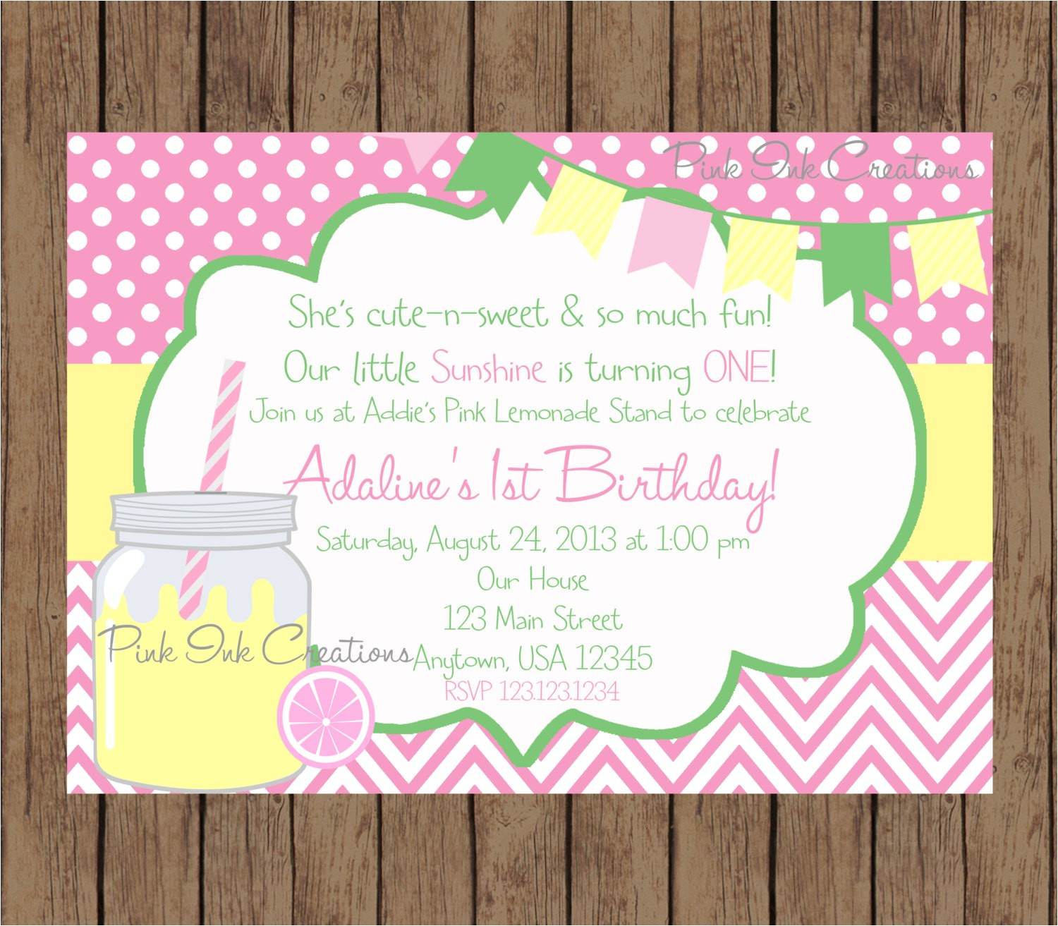 pink lemonade birthday invitation