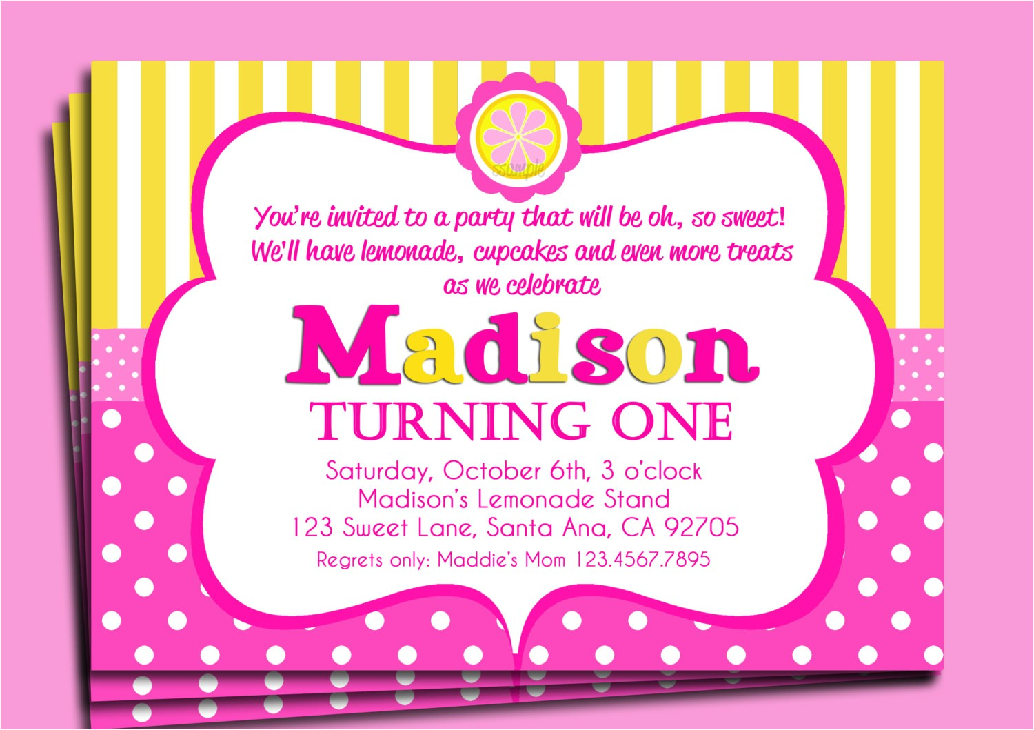 pink lemonade invitation printable or