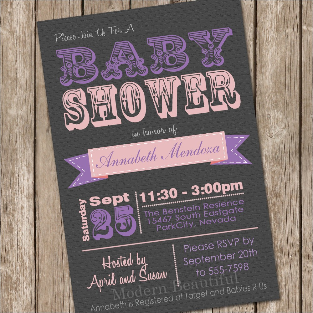 girl baby shower invitation pink and