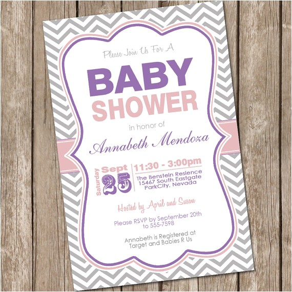 girl baby shower invitation purple and