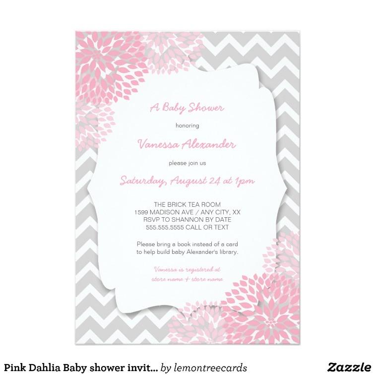 pink dahlia baby shower invites purple grey