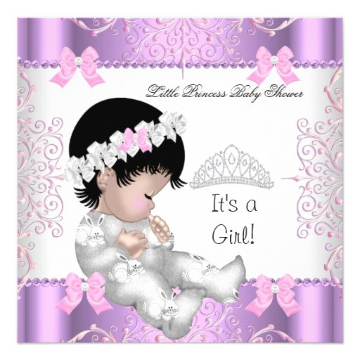 princess pink purple gray baby shower cute girl 3 invitation