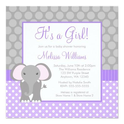 purple gray elephant polka dot girl baby shower invitation
