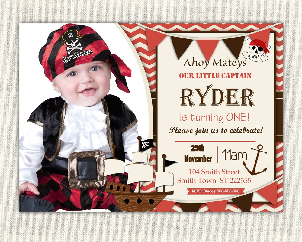 Pirate 1st Birthday Invitations Boys Pirate theme 1st Birthday Invitation Printable Download