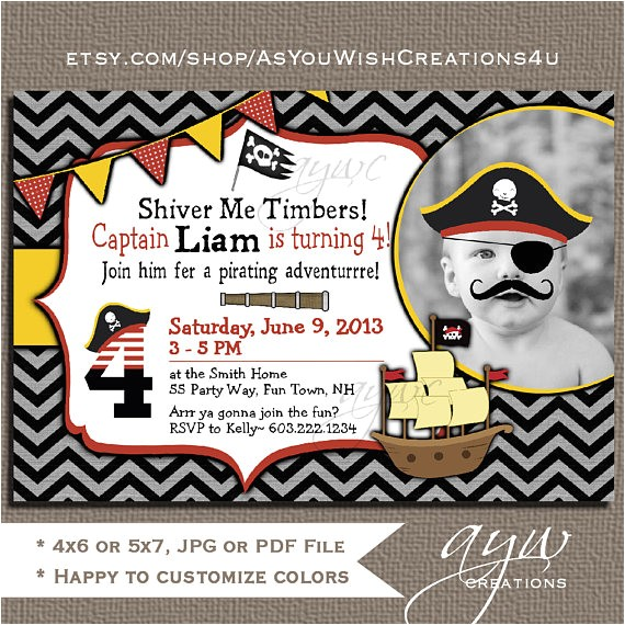 pirate birthday invitation first birthday pirate