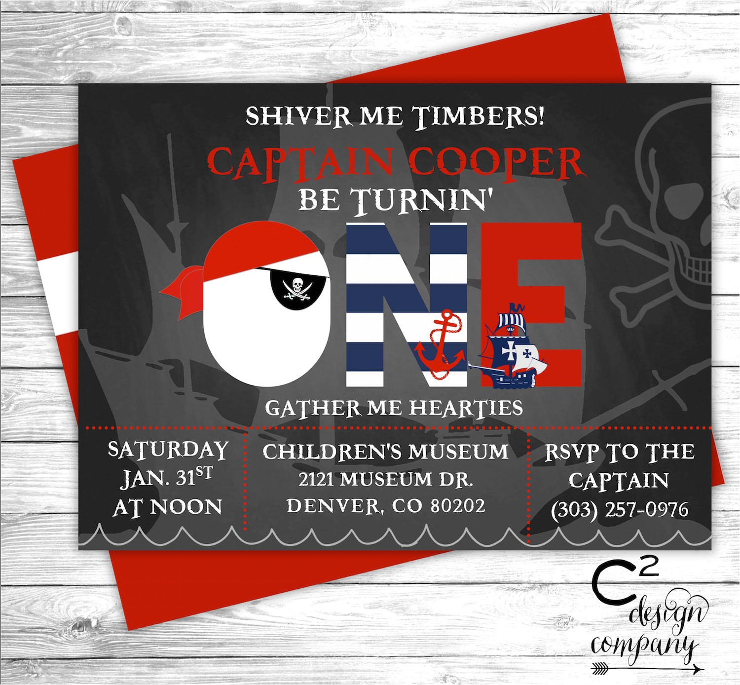 pirate first birthday invitation