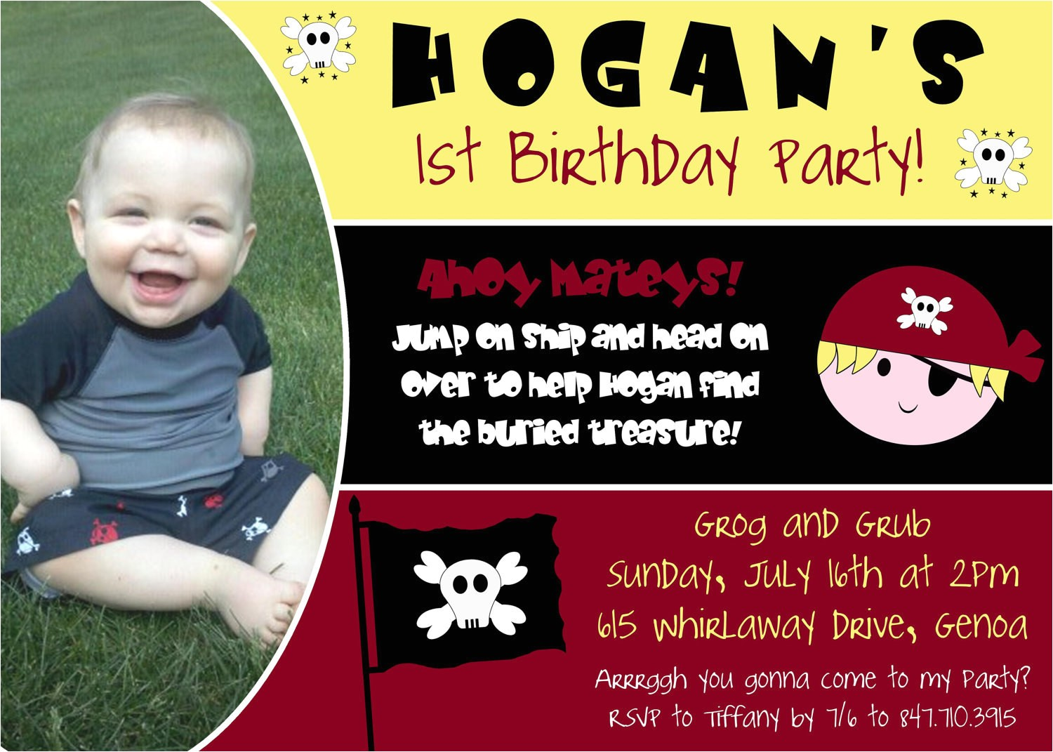 pirate first birthday party invitation