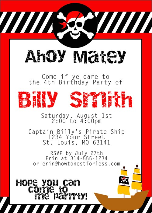 pirate birthday invitations template