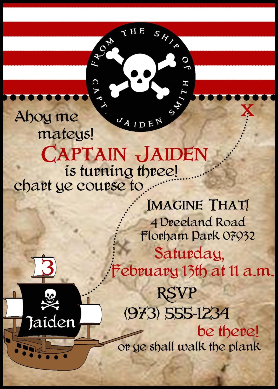 Pirate themed Birthday Party Invitations Pirate Birthday Party Invitations Wording