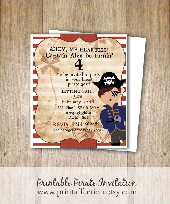 pirate theme birthday invitation