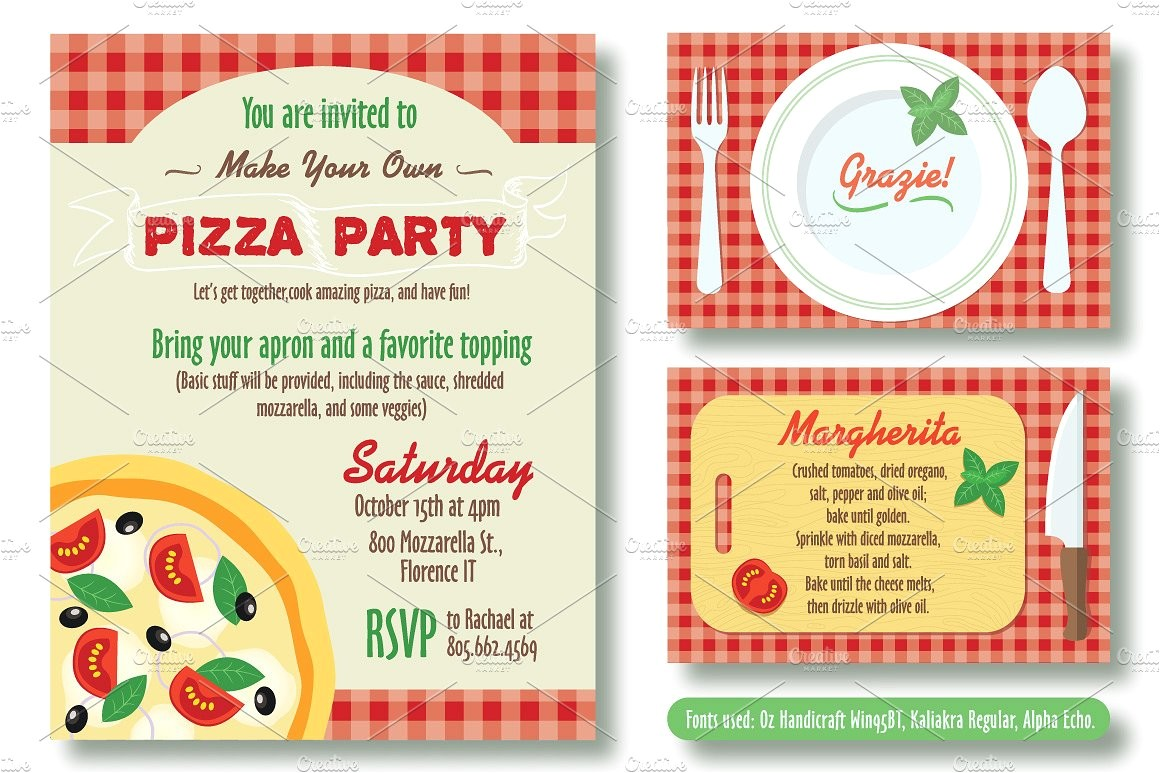 Editable Pizza Party Invitation
