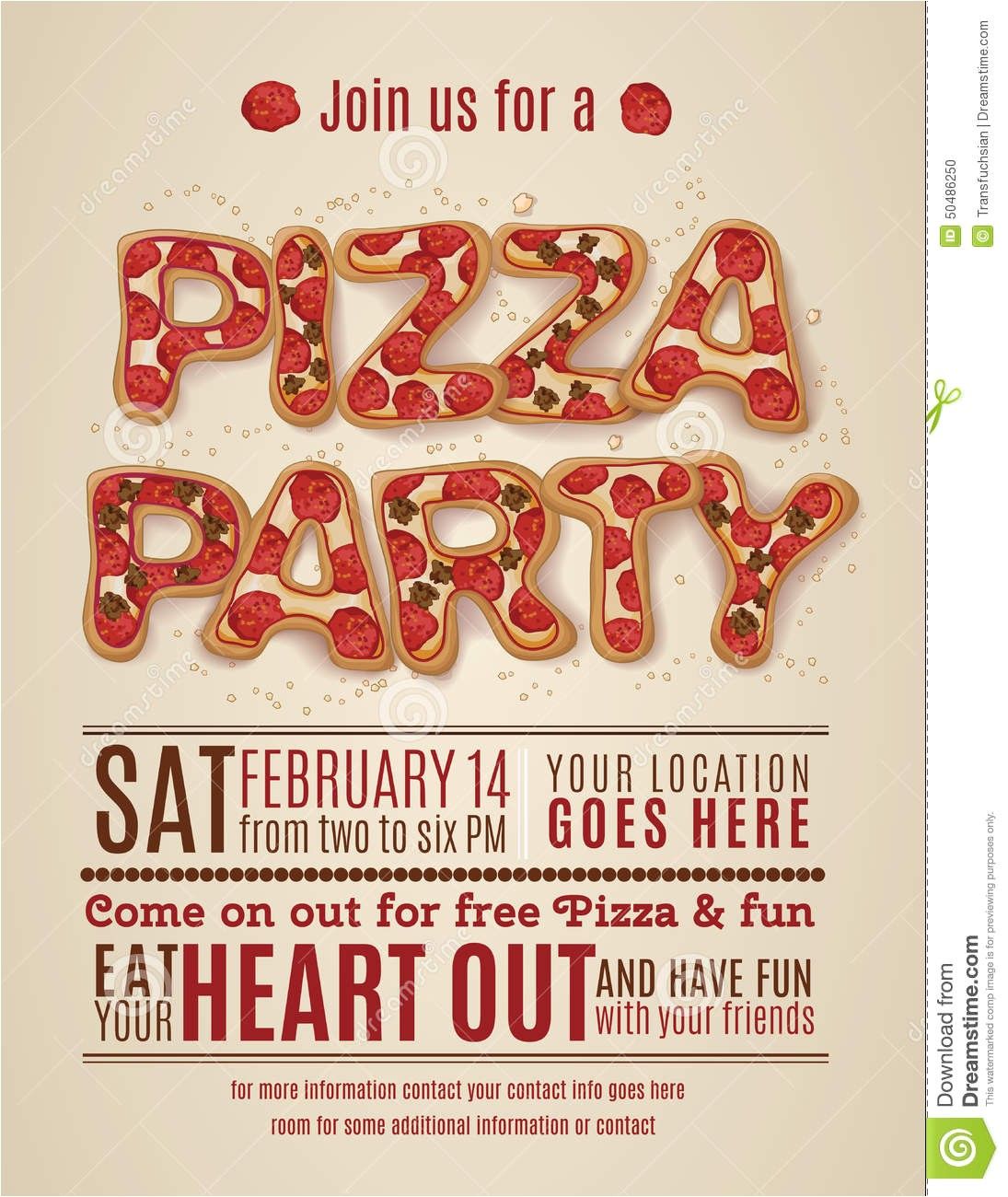 post free printable pizza party flyers