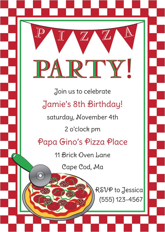 pizza party invitations