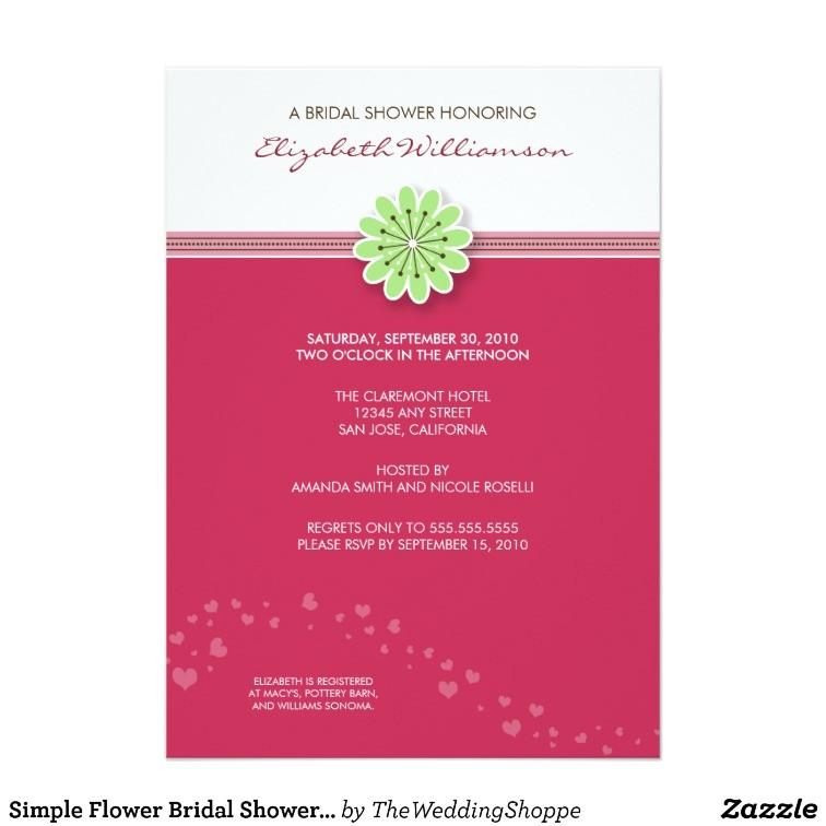 simple flower bridal shower invitation fuschia