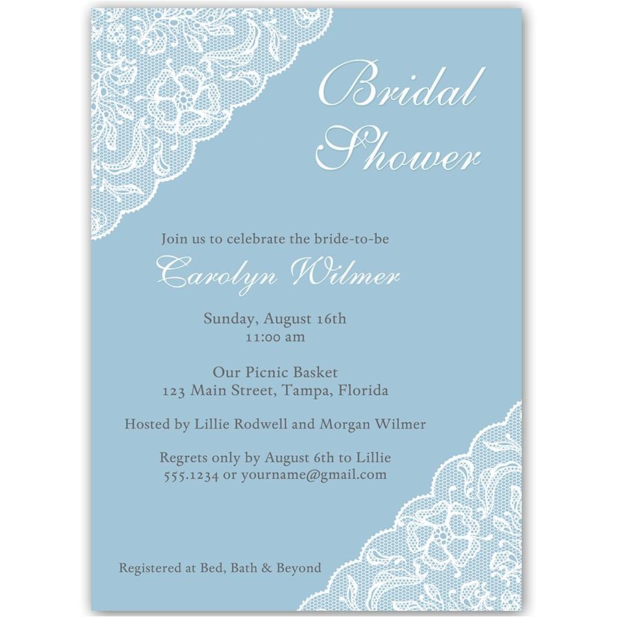 simple lace blue bridal shower invitation