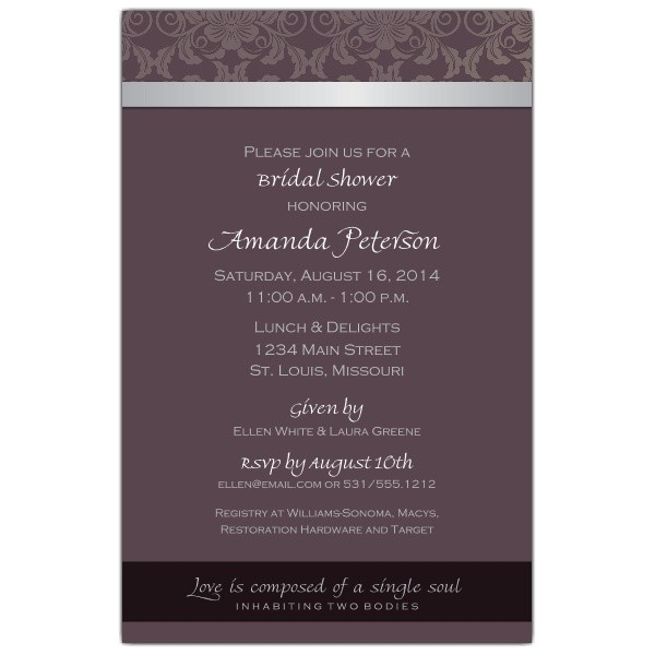 Fleur Plum Bridal Shower Invitations p 605 58 SM122