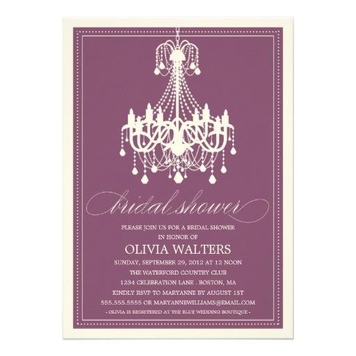 plum chandelier bridal shower invitation