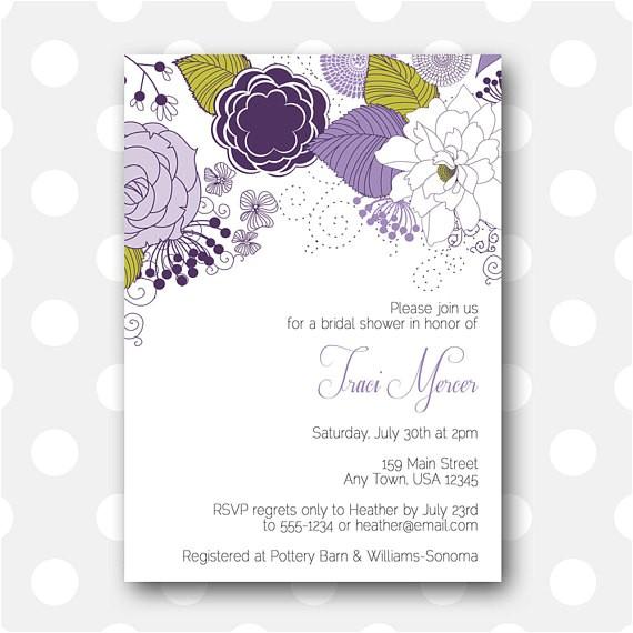 printable bridal shower invitation plum