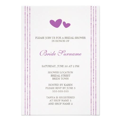purple plum whimsical hearts bridal shower invitation