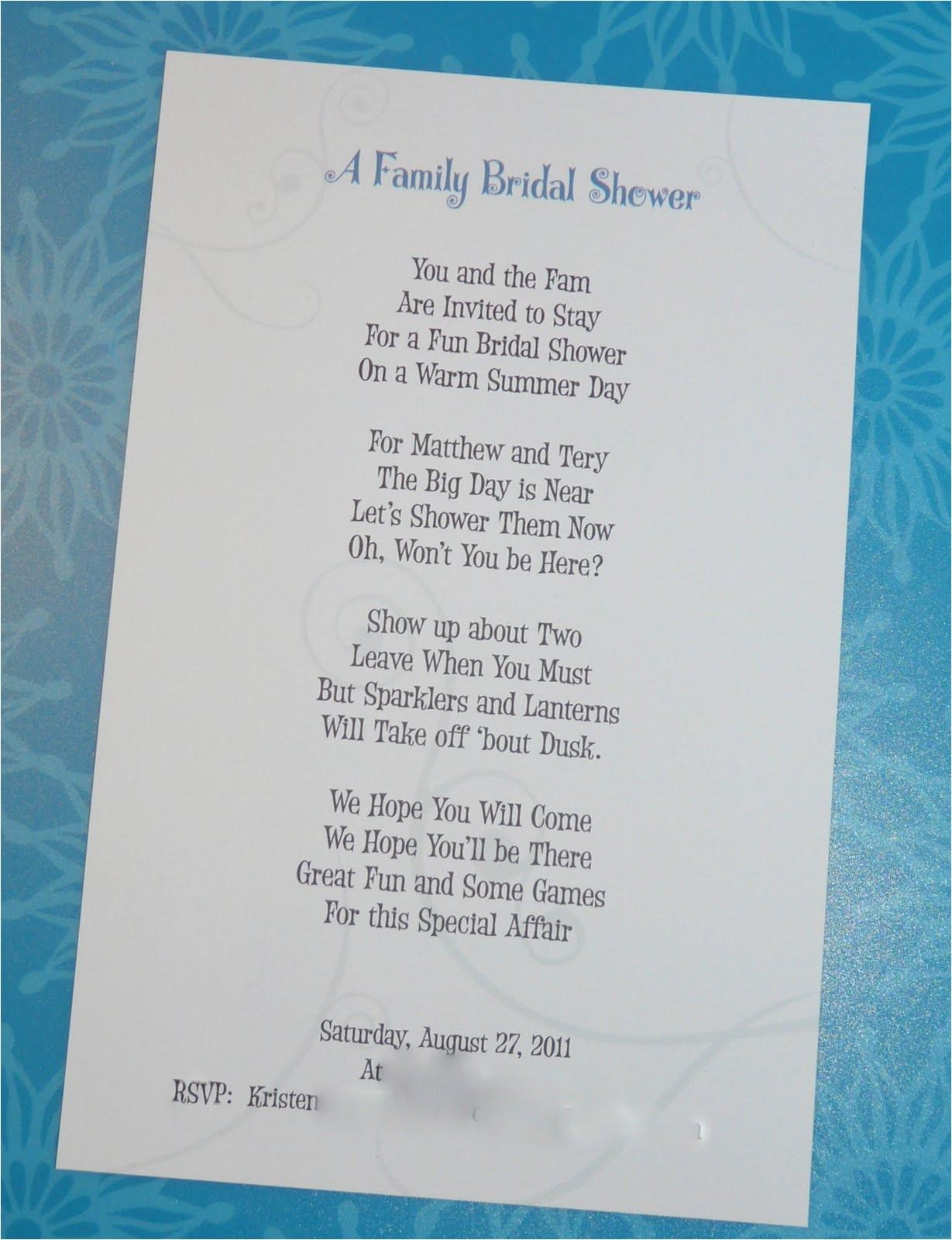 Poems Bridal Shower Invitations Writing A Bridal Shower Invitation Poem