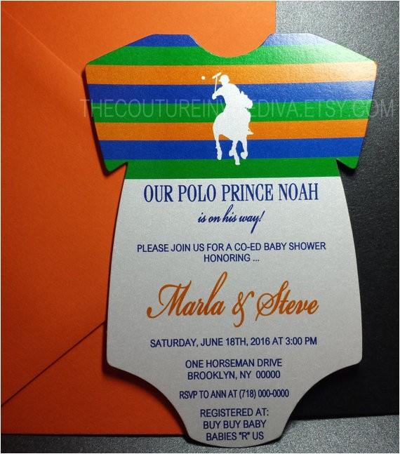 polo prince baby shower invitation polo