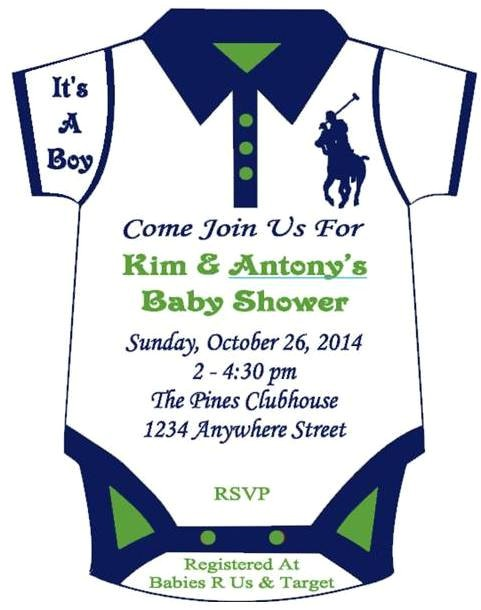 polo themed onesie baby shower invitation 2