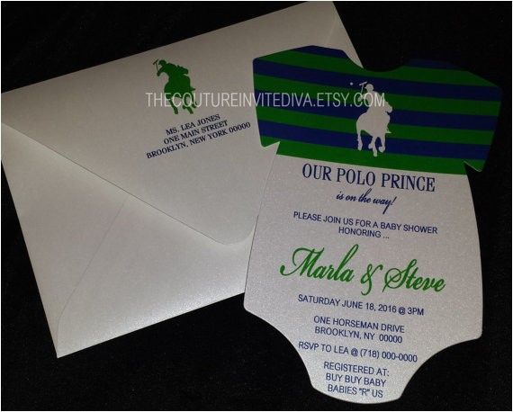 polo prince baby shower invitation polo