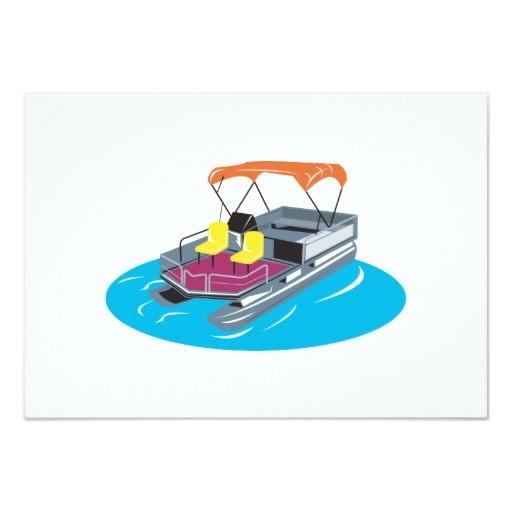 Pontoon Boat Party Invitations Pontoon Boat Retro 9 Cm X 13 Cm Invitation Card