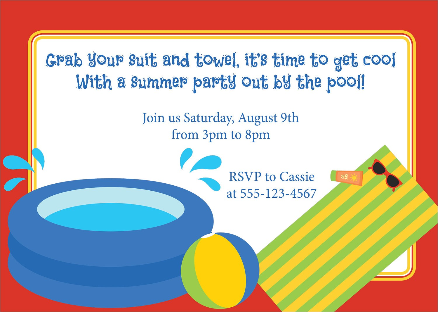 pool party invitation birthday kids